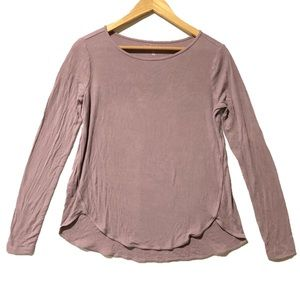Mauve Ribbed Long Sleeve Tee I